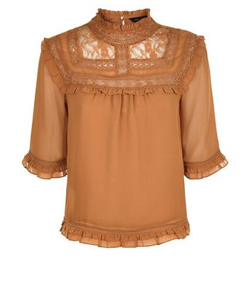 Rust Lace Yoke 1/2 Sleeve Blouse New Look
