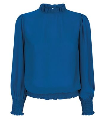 Blue Frill Trim Long Sleeve Top New Look