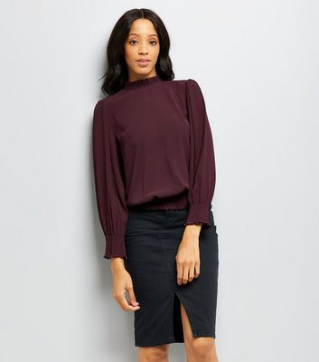 Burgundy Frill Trim Long Sleeve Top New Look