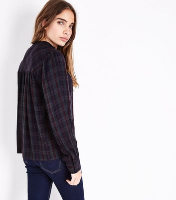 Green Check Gathered Shirt New Look