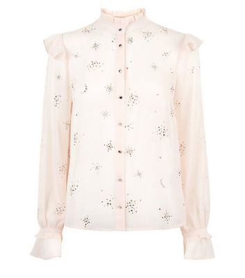 Pink Stud Embellished Frill Trim Blouse New Look