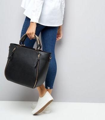 Black Zip Side Metal Handle Tote Bag New Look