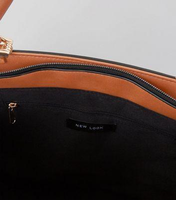 Tan Zip Side Metal Handle Tote Bag New Look