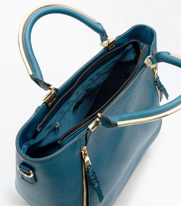 Blue Zip Side Metal Handle Tote Bag New Look