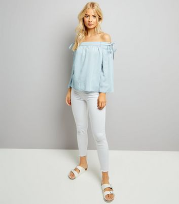Blue Lace Up Shoulder Bardot Neck Top New Look