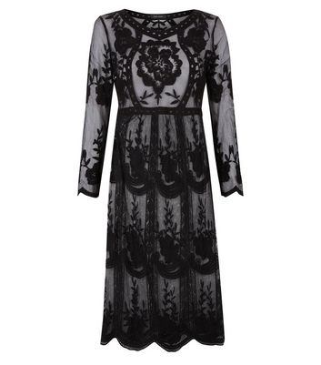 Black Crochet Lace Midi Skater Dress New Look