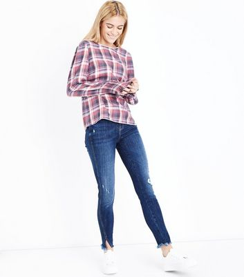 White Check Shirred Balloon Sleeve Top New Look