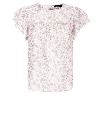 White Floral Frill Sleeve Top New Look
