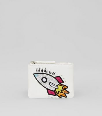 White Embroidered Rocket Coin Purse New Look