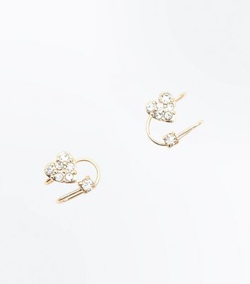 Gold Heart Diamante Embellished Ear Cuffs New Look