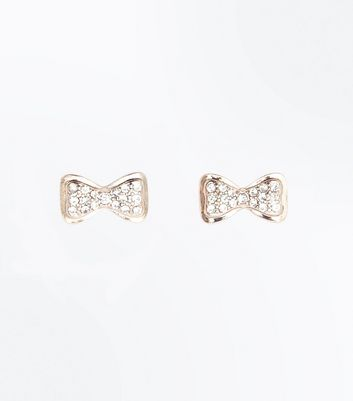 Rose Gold Bow Diamante Embellished Stud Earrings New Look