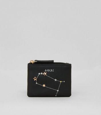 Black Gemini Zodiac Embroidered Zip Top Purse New Look
