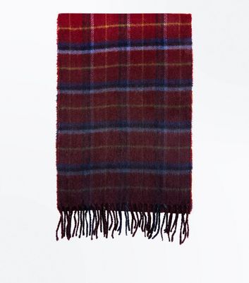 Red Dip Dyed Check Scarf New Look