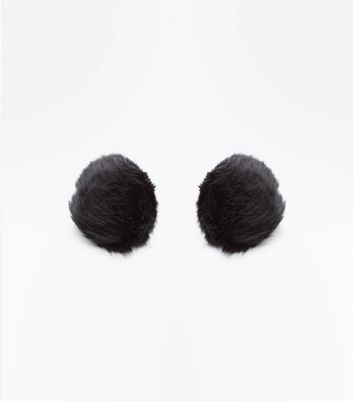Black Faux Fur Pom Pom Stud Earrings New Look