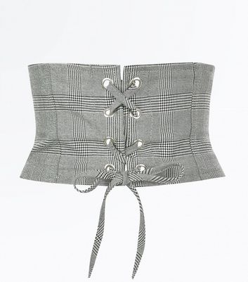 Black Check Corset Belt New Look