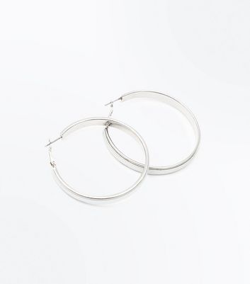 Silver Iridescent Hoop Earrings New Look