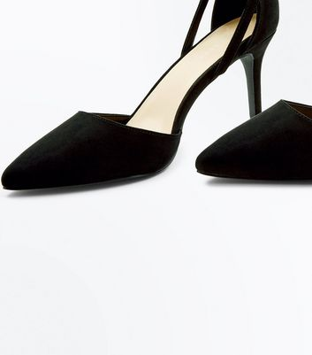 Black Suedette Cross Over Ankle Strap Court Shoes New Look