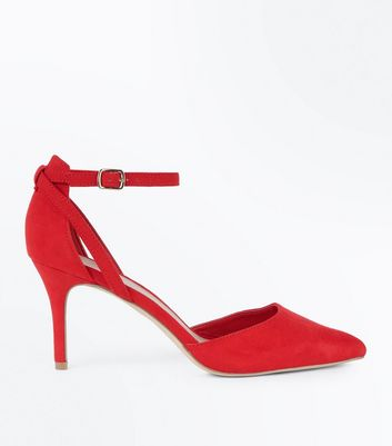 Red Suedette Cross Over Ankle Strap Courts New Look