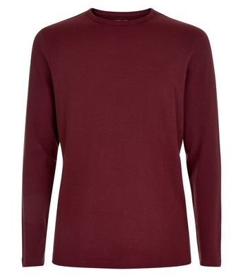 Burgundy Waffle Knit Longsleeve Top New Look