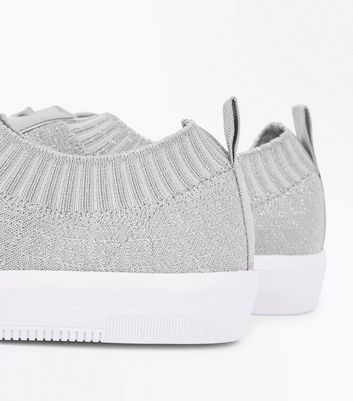 Grey Knitted Lace Up Trainers New Look
