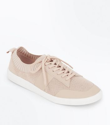 Pink Knitted Lace Up Trainers New Look