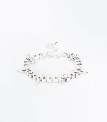 Silver Gem Embellished Spike Chain Bracelet New Look