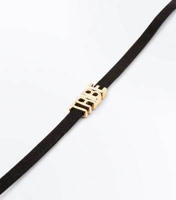 Black Suedette 'Tribe' Slogan Choker New Look