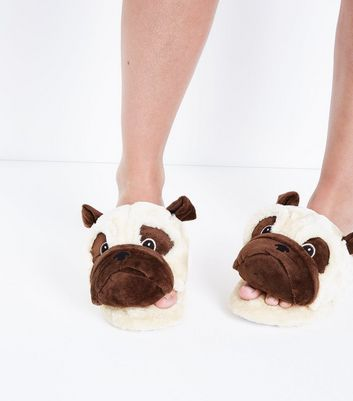 Brown Pug Slippers New Look