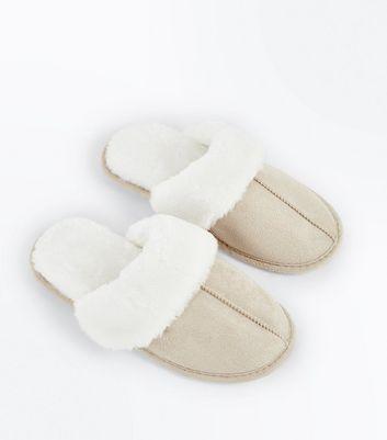 Tan Faux Shearling Mule Slippers New Look