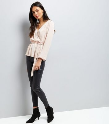 Pink Mesh Panel Wrap Front Top New Look