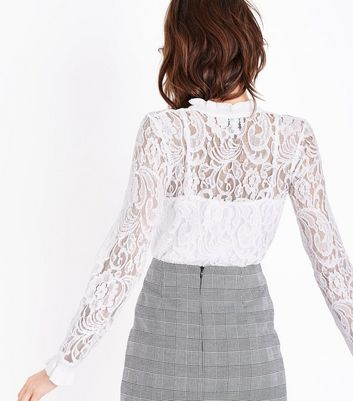 Blue Vanilla White Lace Funnel Neck Top New Look