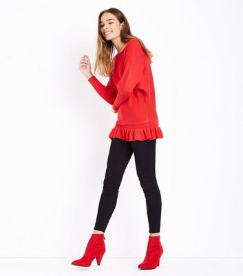 Blue Vanilla Red Frill Hem Batwing Jumper New Look