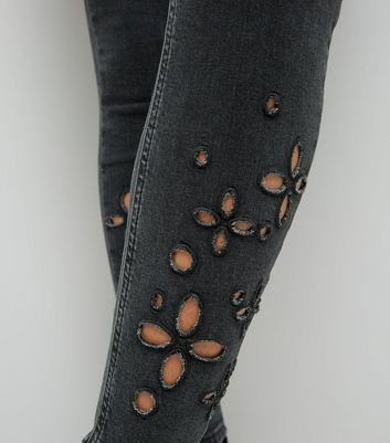 Black Floral Cut Out Skinny Jenna Jeans New Look
