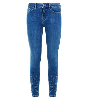 Blue Floral Cut Out Skinny Jenna Jeans New Look