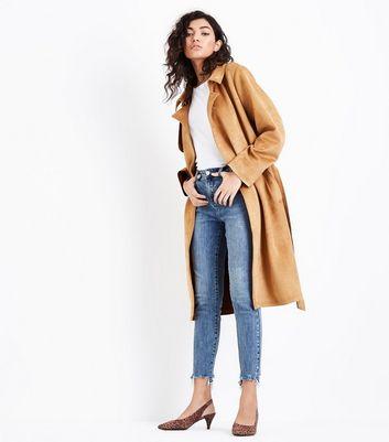 Blue Washed Fray Hem Skinny Jenna Jeans New Look