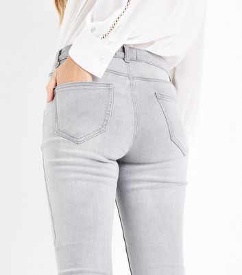 Grey Raw Hem Skinny Jenna Jeans New Look