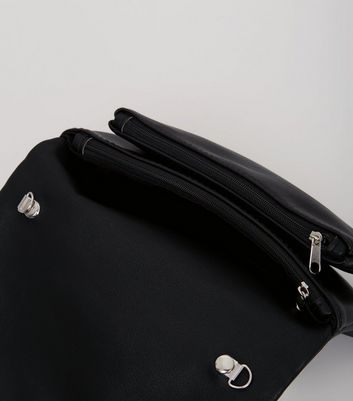 Black Embellished Fold Over Cross Body Bag New Look