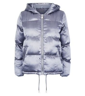 Blue Vanilla Grey Satin Hooded Puffer Jacket New Look
