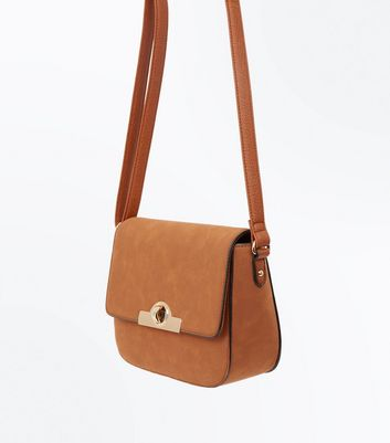 Tan Twist Lock Saddle Bag New Look