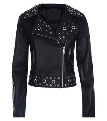 Pink Vanilla Black Eyelet Leather-Look Biker Jacket New Look