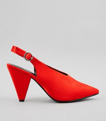 Wide Fit Red Satin Pointed Cone Heels New Look