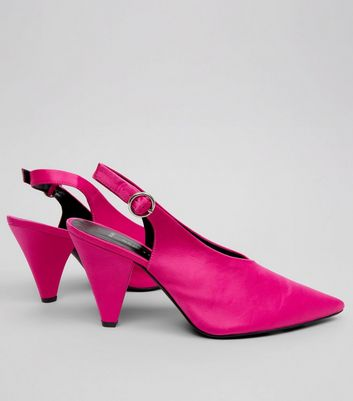 Wide Fit Pink Satin Pointed Cone Heels New Look