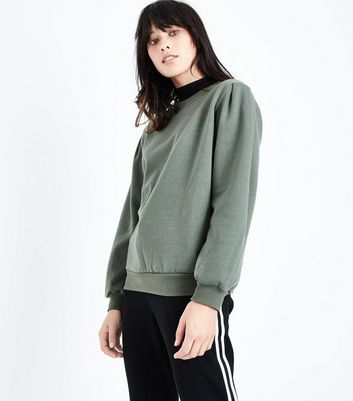Khaki Gathered Sleeve Sweatshirt New Look
