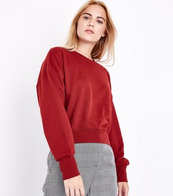 Rust Cropped Sweatshirt New Look