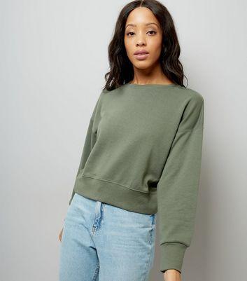 Khaki Cropped Sweatshirt New Look