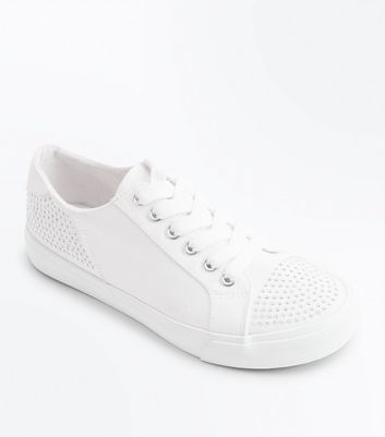 Teens White Canvas Diamante Embellished Trainers New Look