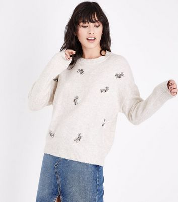 Cream Jewel Embellished Jumper New Look