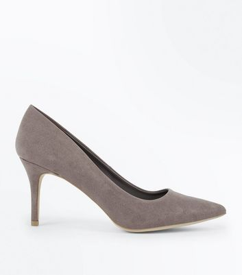 Grey Suedette Pointed Court Shoes | New