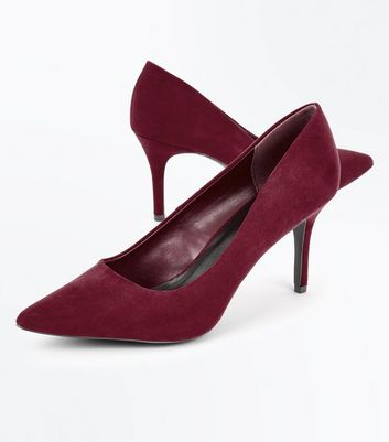 Burgundy Suedette Pointed Court Shoes New Look
