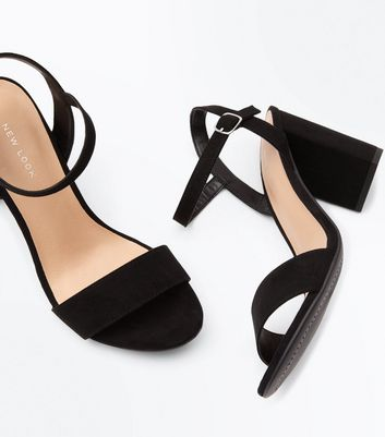Black Suedette Block Heel Sandals New Look